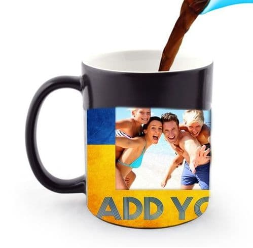 Personalised 3 Photos and Text, Blue & Yellow 11oz Heat and Reveal Large Handle Mug