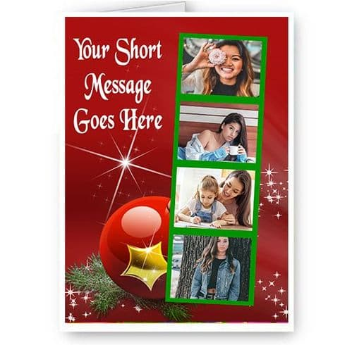 Personalised 4 Photo & Short Message Added A5 Merry Christmas, Holidays, Card