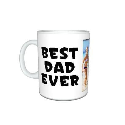 Personalised 4 photos added Best Dad Ever, Fathers Day, Mug Gift, Size 11oz