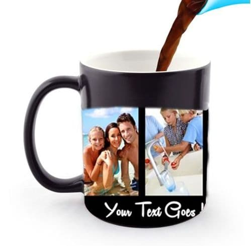 Personalised 4 Photos and Text Collage 11oz Heat and Reveal Magic Large Handle Mug