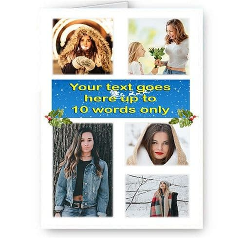 Personalised 5 Photos & Short Message Added A5 Merry Christmas, Holidays, Card