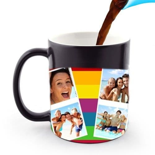Personalised 6 Photos Collage 11oz Heat and Reveal Magic Large Handle Mug