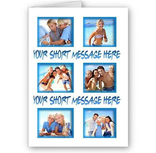 Personalised 6 Photos & Short Message, White & Blue Theme, A5 All Occasion Card