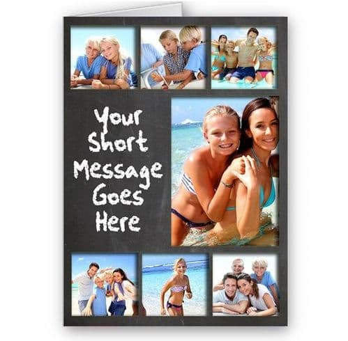Personalised 7 Photo Collage, A5 Chalkboard Theme, All Occasion Card