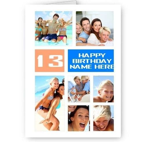 Personalised 7 Photos Collage Effect Age & Name, White & Blue Birthday A5 Card