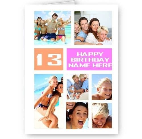 Personalised 7 Photos Collage Effect Age & Name, White & Pink Birthday A5 Card