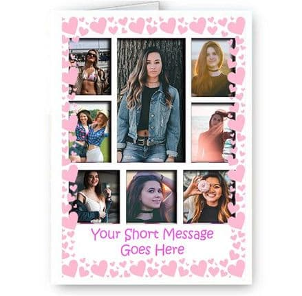 Personalised 8 Photos Added A5 Pink Hearts, Birthday, Christmas, Good Luck, Card