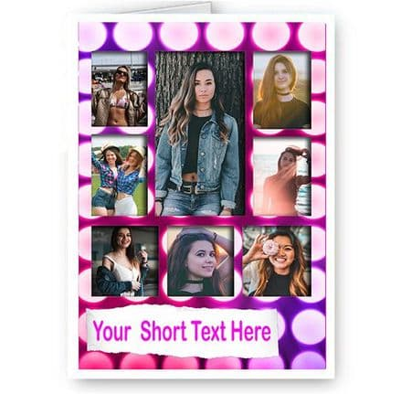 Personalised 8 Photos Added A5 Pink Purple, Birthday, Christmas, Good Luck Card