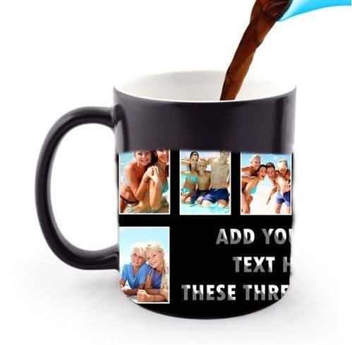 Personalised 8 Photos and Text Black Collage 11oz Heat and Reveal Magic Large Handle Mug