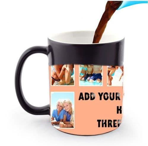Personalised 8 Photos and Text Collage 11oz Heat and Reveal Magic Large Handle Mug