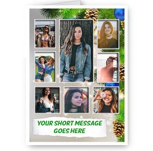 Personalised 8 Photos & Short Message Added A5 Happy, Merry Christmas Card
