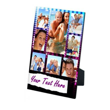 Personalised 8 Photos & Text Girly Disco Theme MDF Photo Panel 5'' x 7'' with Easel