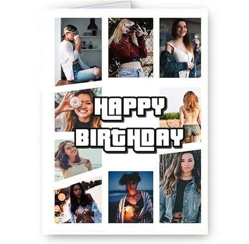 Personalised 9 Photos Added Happy Birthday A5 Card, GTA, Grand Theft Auto Theme