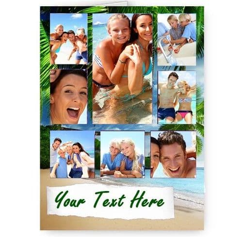 Personalised All Occasions Beach, Summer, Holiday, Vacation Collage 8 Photos Added A5 Card