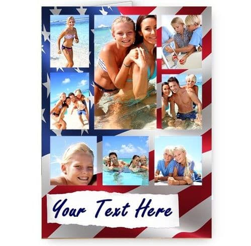 Personalised All Occasions USA Flag collage 8 Photos Added A5 Card