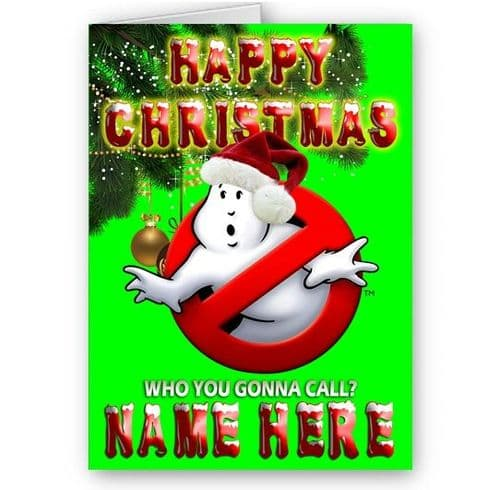 Personalised Any Name, Ghostbusters Happy Christmas A5 Card