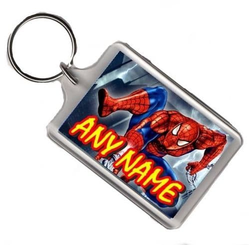 Personalised Any Name Spiderman Large Keyring Gift Pic Size 35mm X 50mm