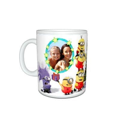 Personalised Any Photo Added Despicable Me Minions Christmas Gift Mug Size 11oz