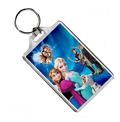 Personalised Any Photo Disney Frozen Anna & Elsa Jumbo Keyring, Pic 70mm X 45mm