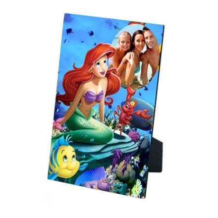 Personalised Any Photo Disney Princess Ariel MDF Photo Panel 5'' x 7'' with Easel