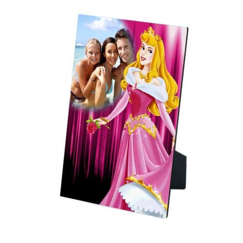 Personalised Any Photo Disney Princess Sleeping Beauty MDF Photo Panel 5'' x 7'' with Easel