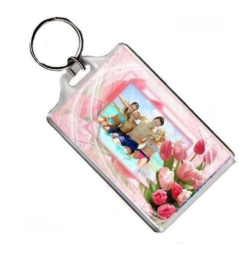 Personalised Any Photo Flower Theme Jumbo Keyring Gift Pic Size 45mm X 70mm