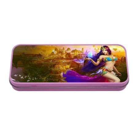 Personalised Belly Dancer Pink Metal Tin Pencil Case, 190mm X 80mm X 35mm