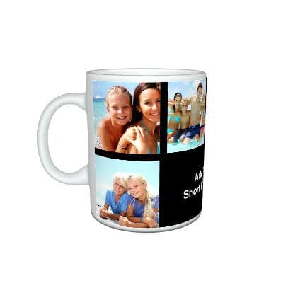 Personalised Black Collage Photos and Text Mug, Special Gift, Mug Size 11oz