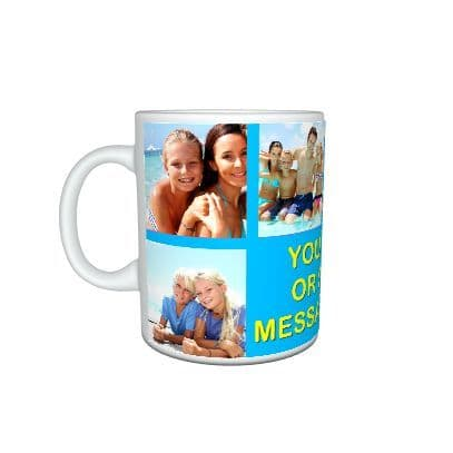 Personalised Blue Collage Photos and Text Mug, Special Gift, Mug Size 11oz