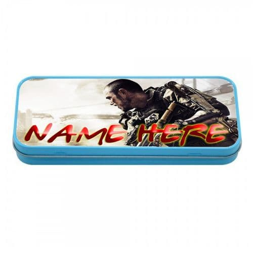 Personalised Call Of Duty Blue Tin Pencil Case, 190mm X 80mm X 35mm