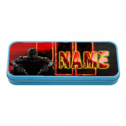 Personalised Call Of Duty, COD Blue Metal Tin Pencil Case, 190mm X 80mm X 35mm