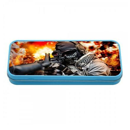 Personalised Call Of Duty, COD, Blue Tin Pencil Case, 190mm X 80mm X 35mm