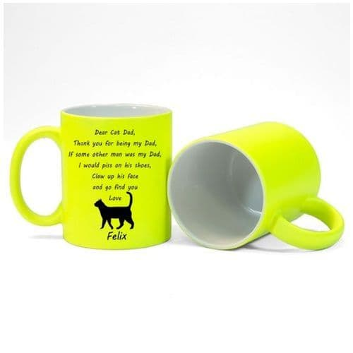 Personalised Cat Name(s), Dear Cat Dad, Thank You Message Mug Fluorescent Yellow