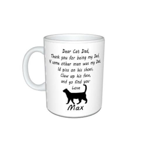 Personalised Cat Name(s), Dear Cat Dad, Thank You Message Mug Gift, Size 11oz