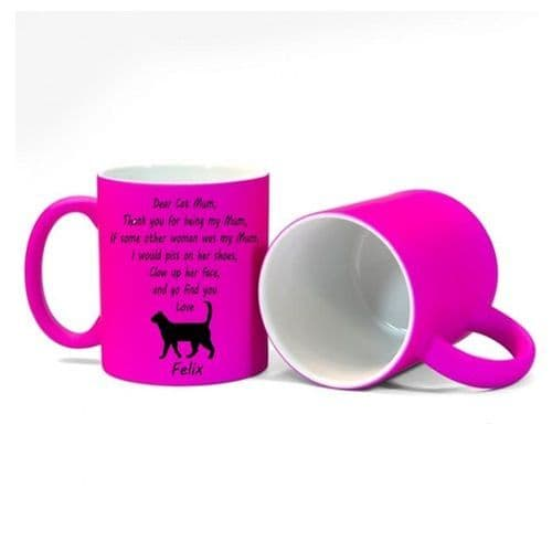 Personalised Cat Name(s), Dear Cat Mum, Thank You Message Mug Fluorescent Pink