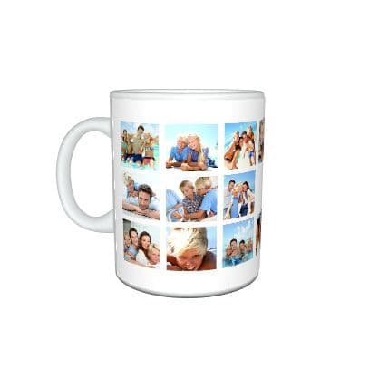 Personalised Collage 20 Photos Added Large Handle 11oz Mug, Cup, Special Gift