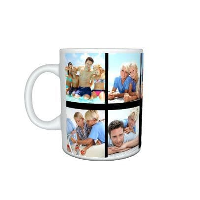 Personalised Collage Photos & Message Large Handle 11oz Mug, Cup, Special Gift