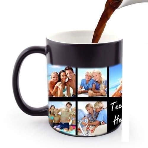 Personalised Collage With Message Black Heat and Reveal Magic 11oz Large Handle Mugs
