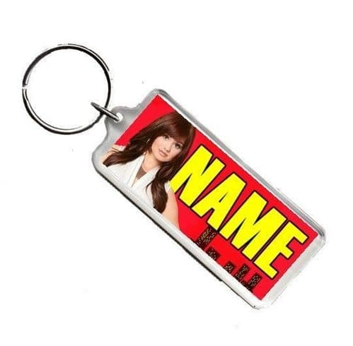 Personalised Debby Ryan, Jessie, Any Name Number Plate Style Rectangle Keyring