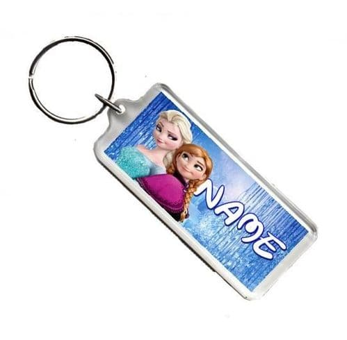 Personalised Disney Frozen Anna & Elsa, Number Plate Style Rectangle Keyring