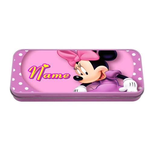 Personalised Disney Minnie Mouse Pink Metal Tin Pencil Case, 190mm X 80mm X 35mm