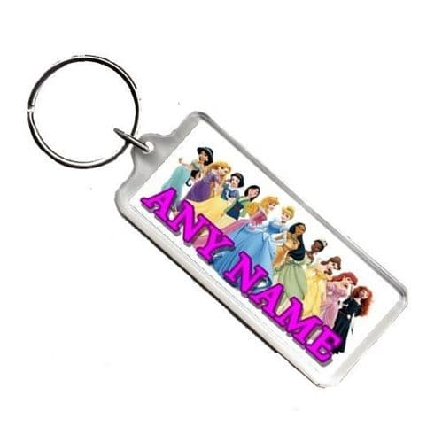 Personalised Disney Princess Any Name Number Plate Style Rectangle Keyring