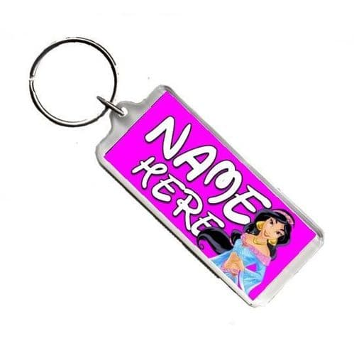 Personalised Disney Princess Jasmine, Number Plate Style Rectangle Keyring