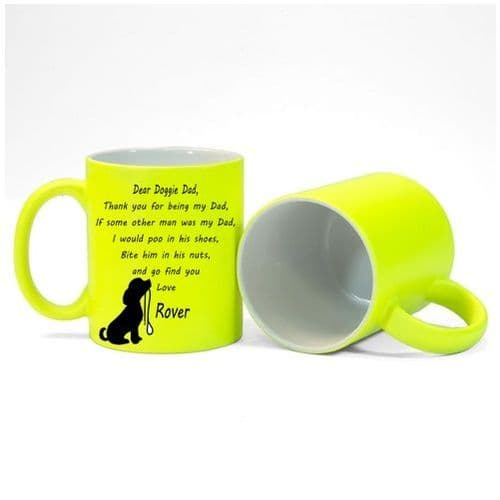 Personalised Dog Name(s), Dear Doggie Dad, Thank You Message Fluorescent Yellow