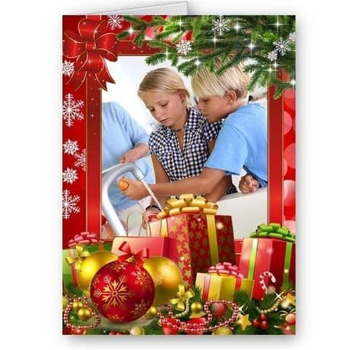 Personalised Family, Friends, Photo, Christmas, A5 Card With Red Envelope