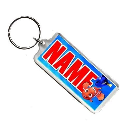 Personalised Finding Nemo Any Name Number Plate Style Rectangle Keyring