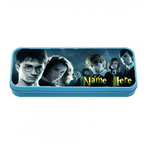Personalised Harry Potter Blue Tin Pencil Case, 190mm X 80mm X 35mm