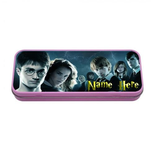 Personalised Harry Potter Pink Tin Pencil Case, 190mm X 80mm X 35mm