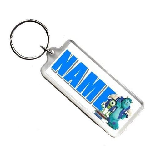 Personalised Monsters University  Any Name Number Plate Style Rectangle Keyring