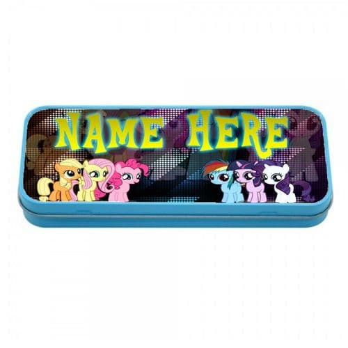 Personalised My Little Pony Blue Metal Tin Pencil Case, 190mm X 80mm X 35mm